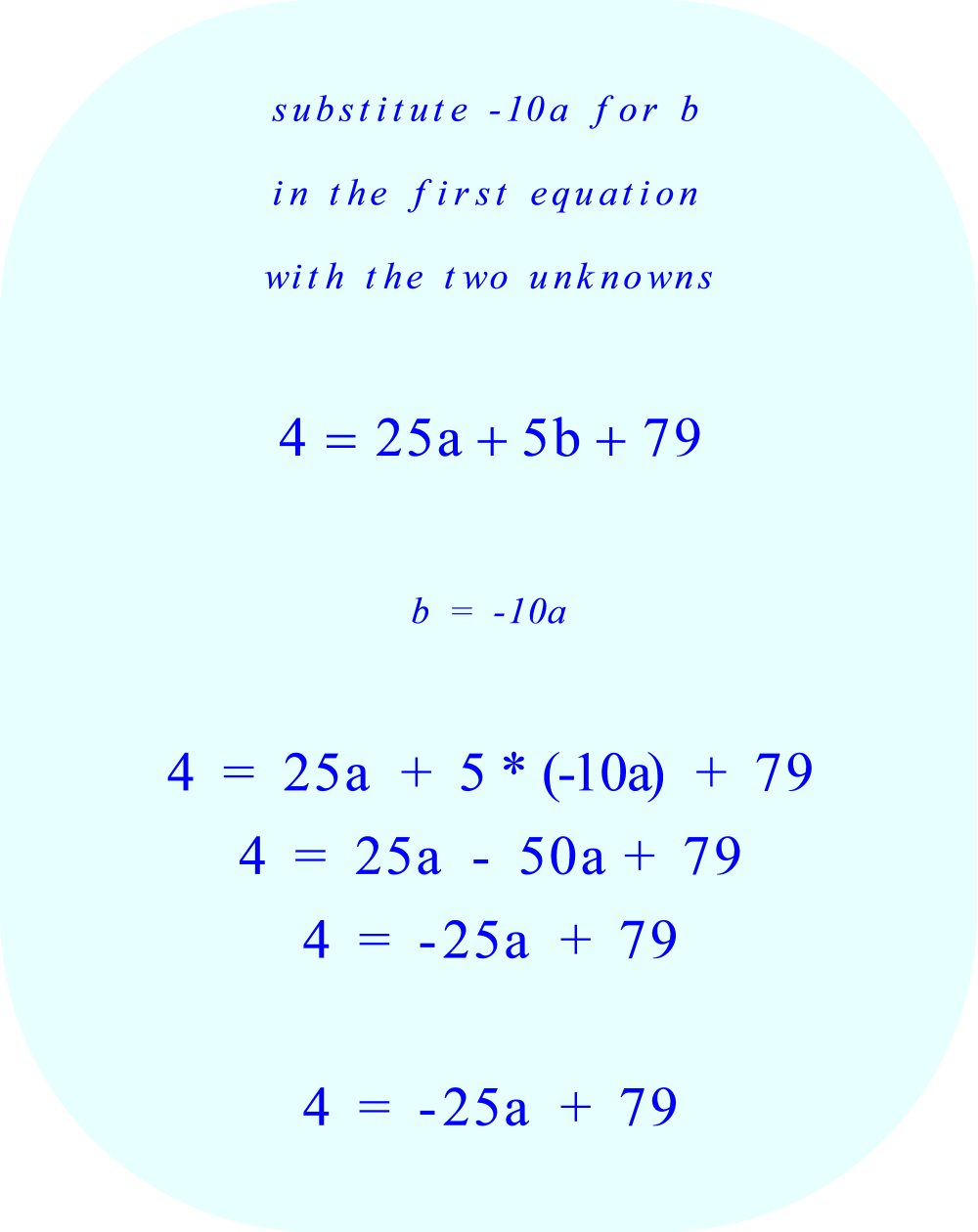 substitute '-10a' for the coefficient 'b' in the first  equation with the two unknowns