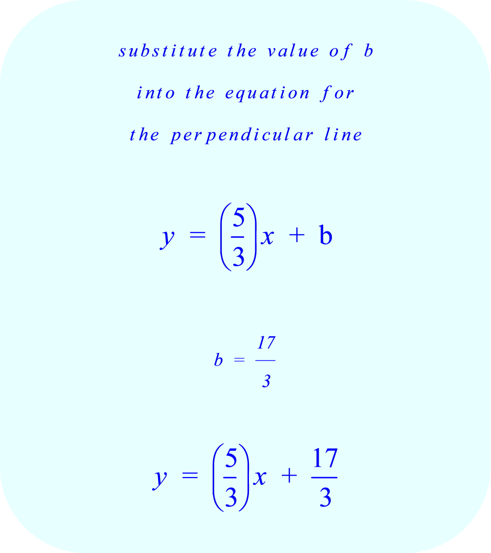 substitute the value of b into the equation for the perpendicular line