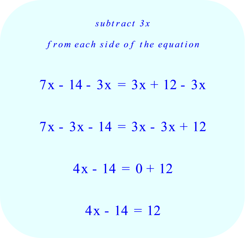 algebra solve for x subtract 3x from each side of the equation