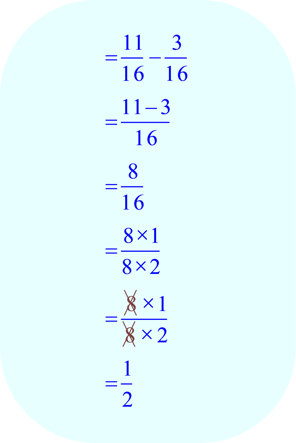 subtract fractions:  11/16 - 3/16