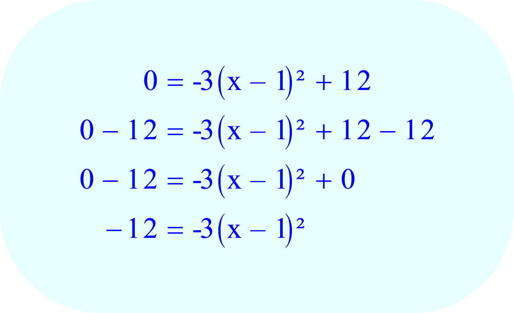 Subtract 12 from each side of the equation