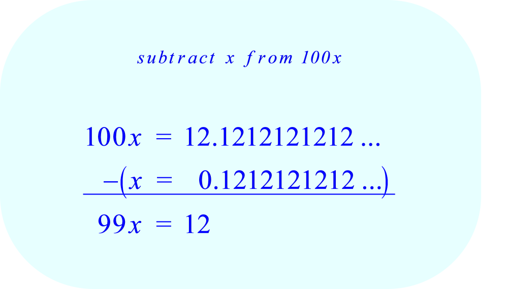 subtract x from 100x