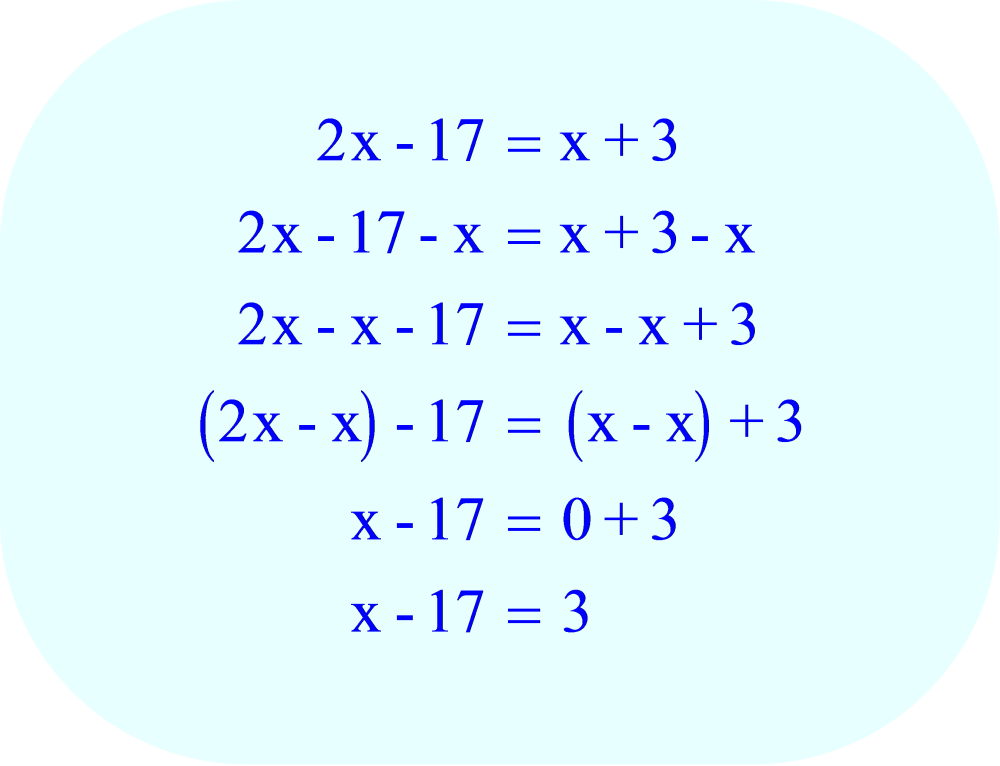 Subtract x from each side of the equation