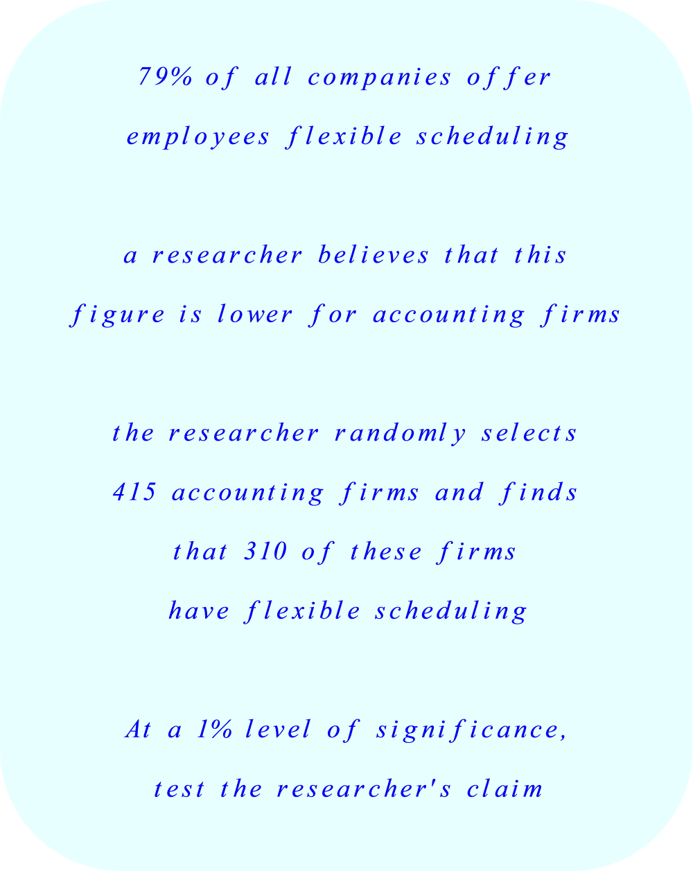 Test the 1% level of significance for flexible scheduling.