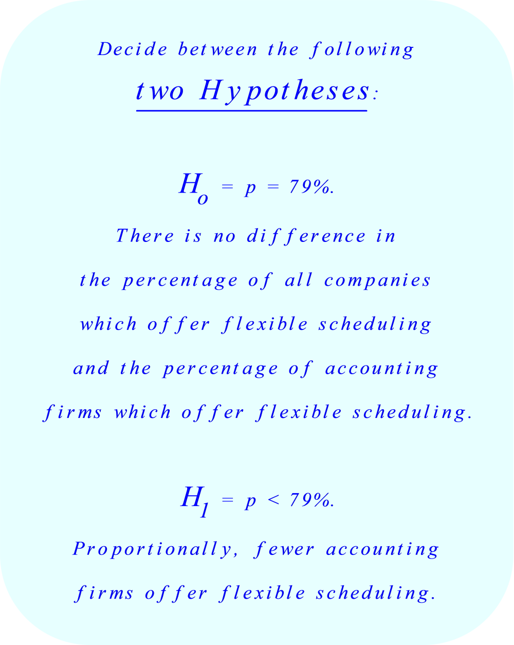 Decide between two hypotheses&#13;&#13;       H₀ = p = 79%&#13;&#13;       H₁ = p < 79%