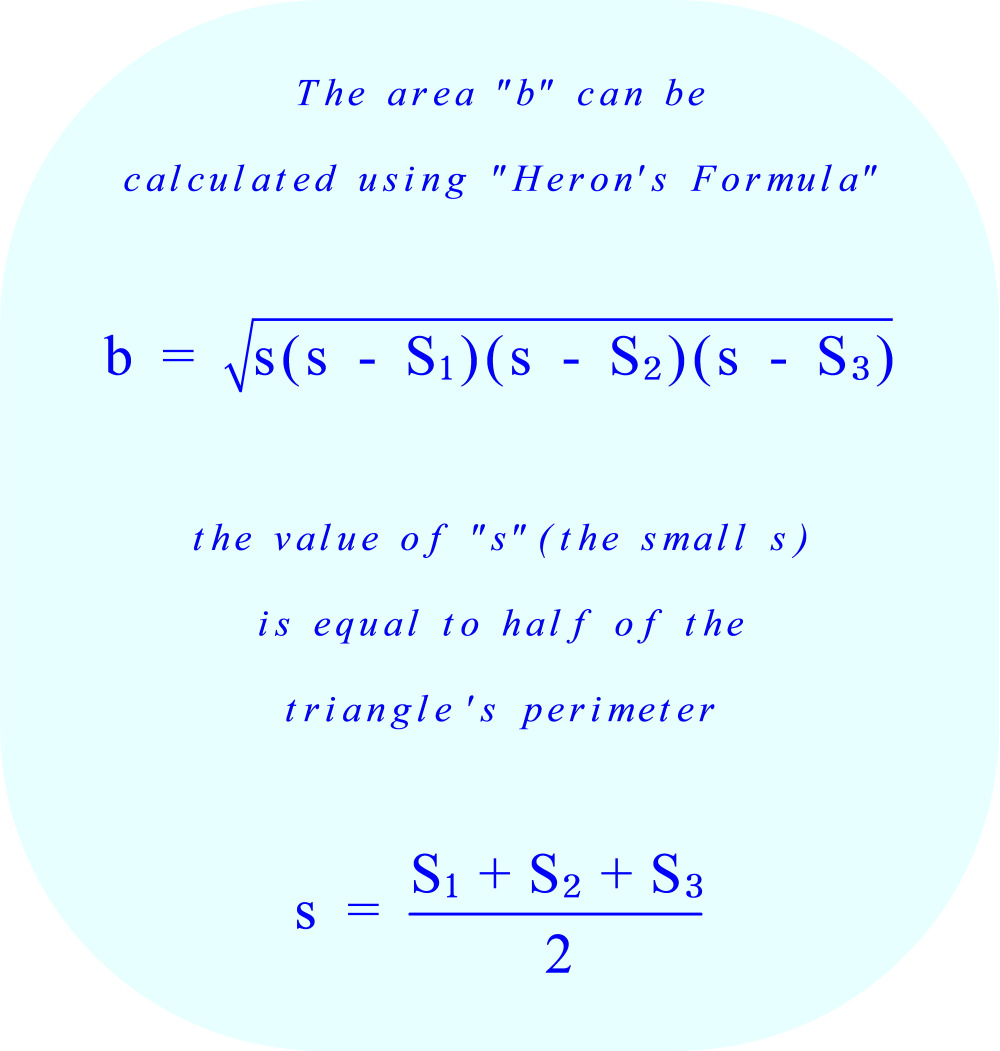 Triangular prism - calculate the area of the base using Heron's formula 