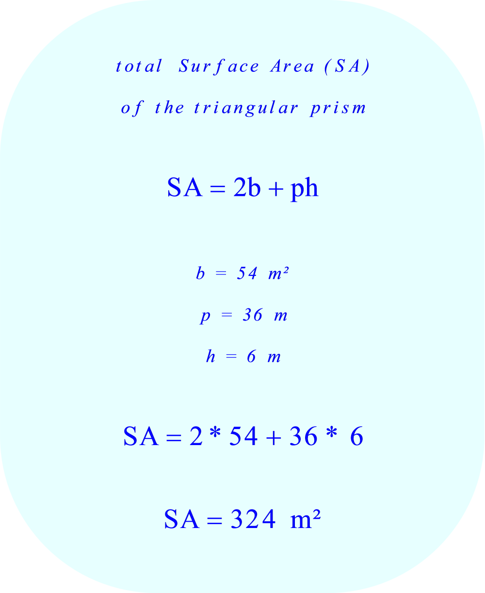 Triangular prism - calculating the total surface area 