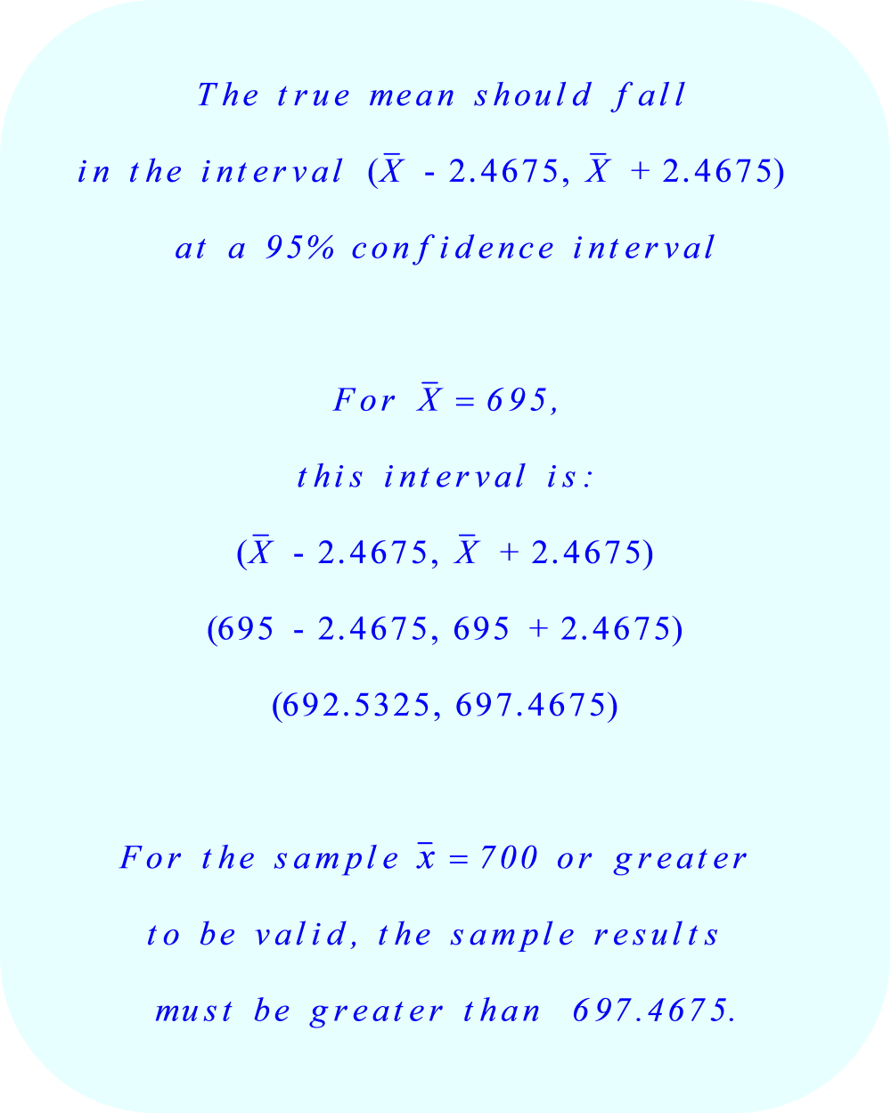 At a 95% confidence interval, the true mean should fall within the interval (X̄ - 2.4675, X̄ + 2.4675)