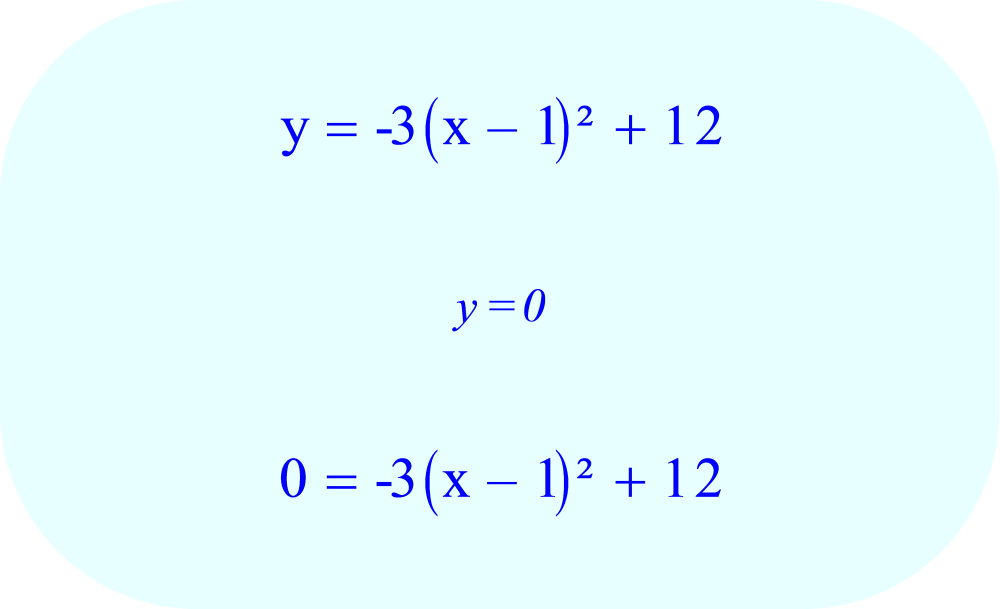 Vertex form of a parabola - final equation:  solve for x-intercepts