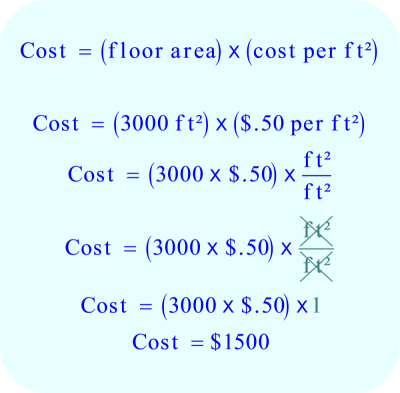 Word Problem - Cost Cleaners charge:  cost = 3000 ft² * $ .50 per ft²
