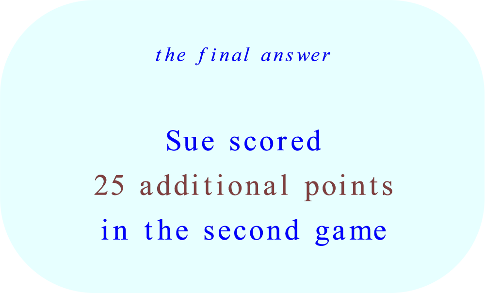word problem - final answer - additional points scored in 2nd game