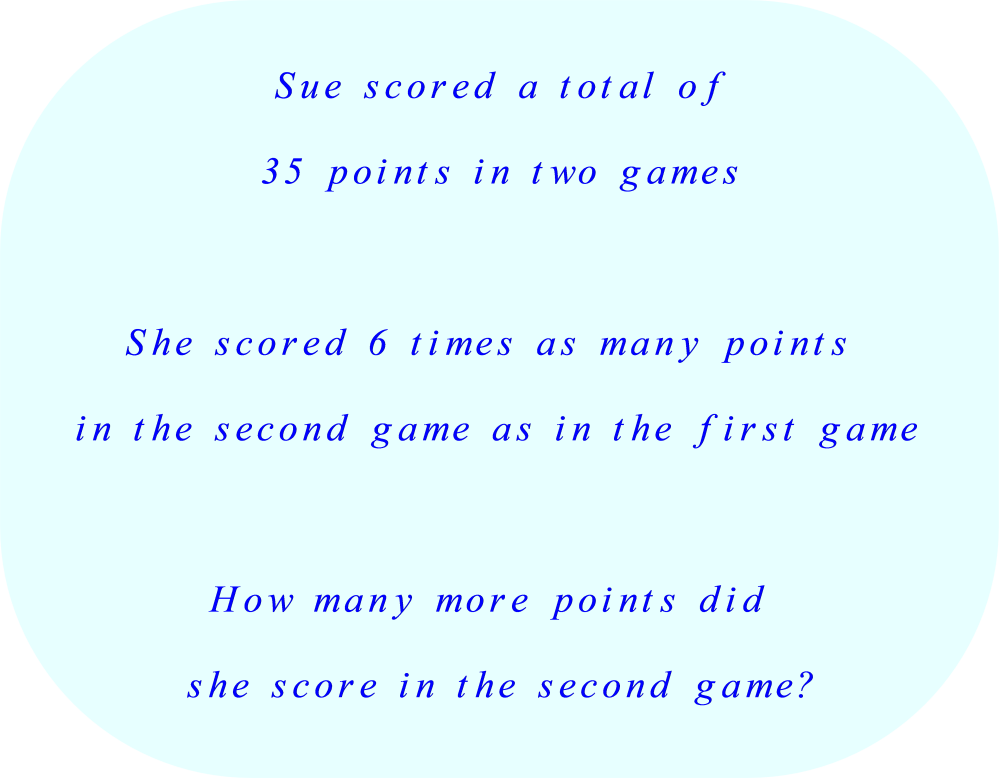 Word Problem - how many more points were scored in the second game?