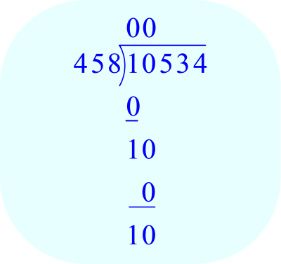 Long Division – 10,534 ÷ 458; 458 goes into 10 zero times