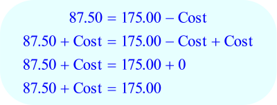 Math – percent Markup, solve for cost - step E